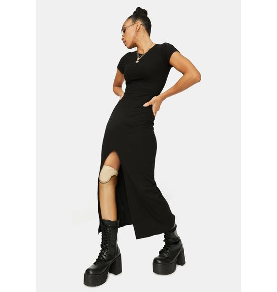 Midnight More Or Less Ribbed Maxi Dress