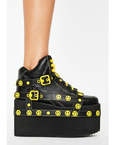 Smiley Qozmo Bondage Platform Sneakers