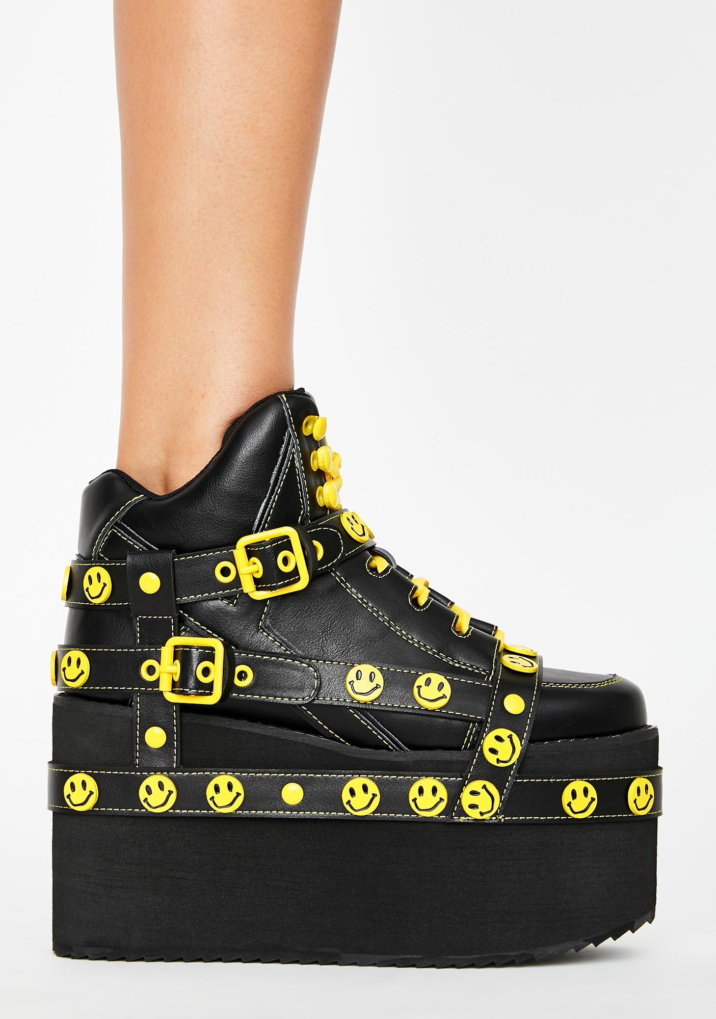 Y.R.U. Smiley Qozmo Bondage Platform Sneakers