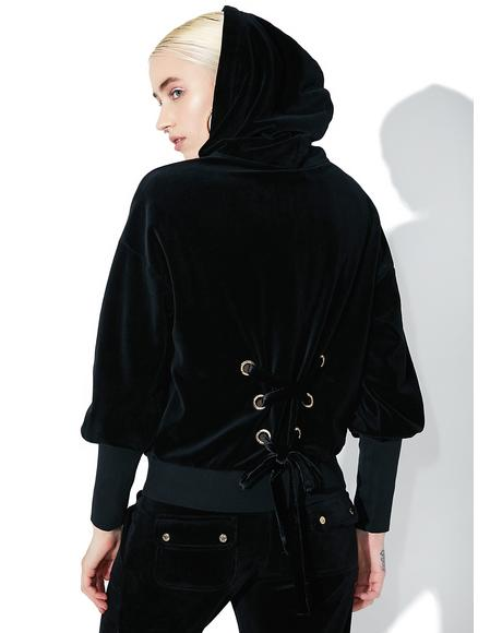 Velour Lace Back Hoodie