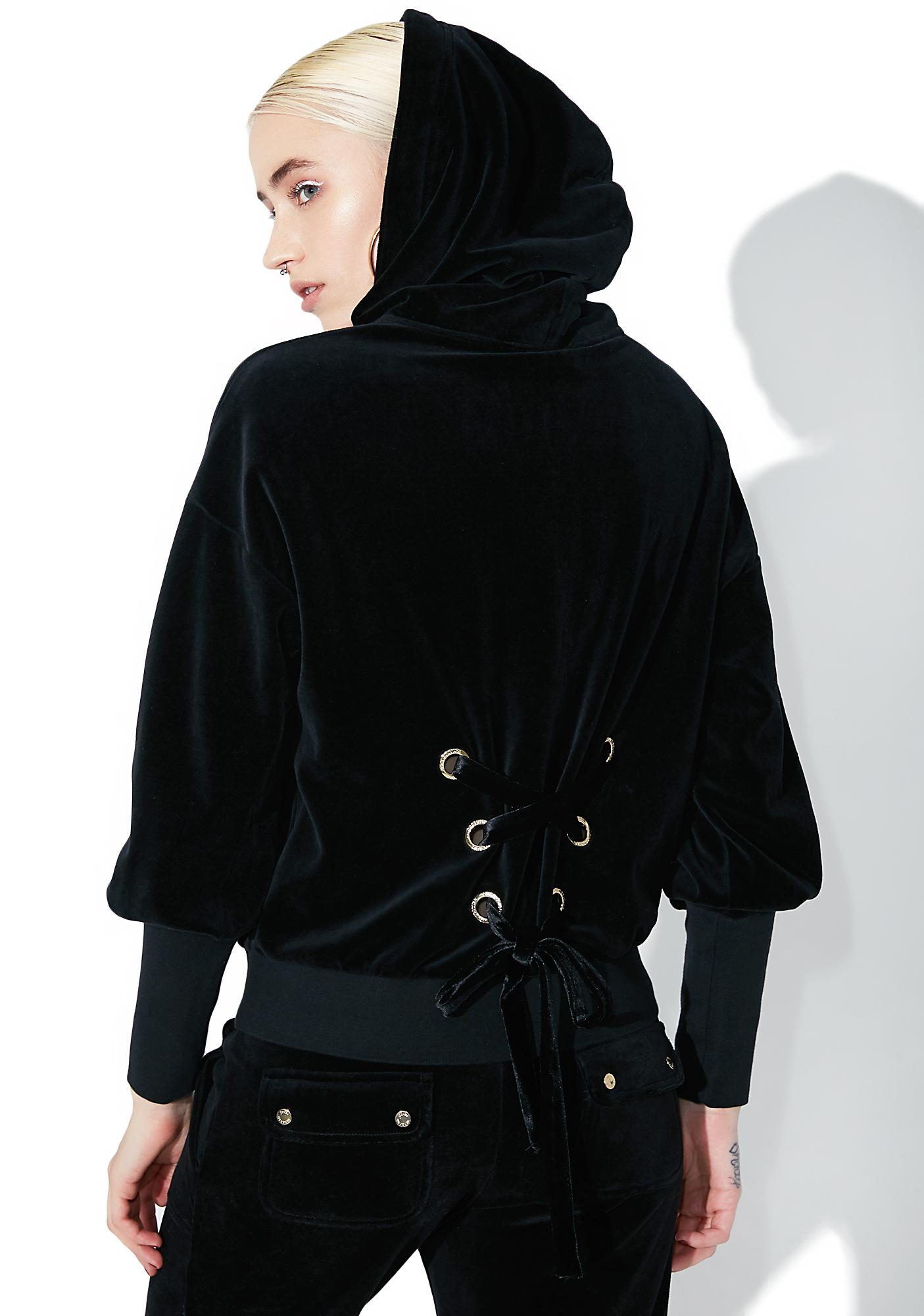 JUICY COUTURE Velour Lace Back Hoodie