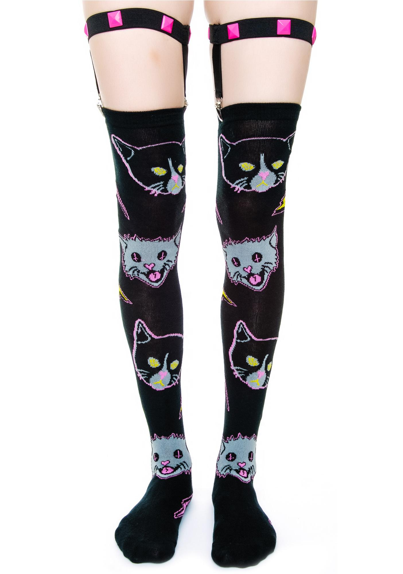 Too Fast Kitty Rocks Garter Socks
