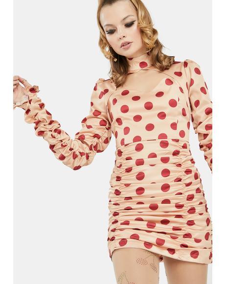 Peach Polka Dot Ruched Mini Dress