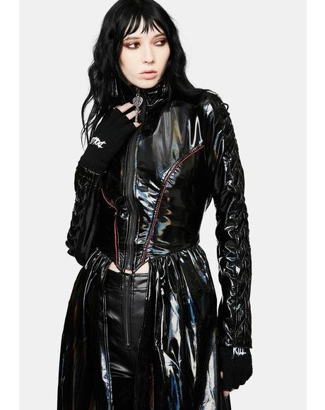 Cyber Rococo Holographic Long Coat