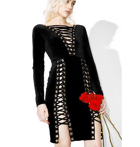 Shady Sadie Lace Up Bodycon Dress