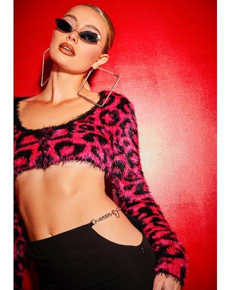 Picking Me Cheetah Heart Crop Cardigan