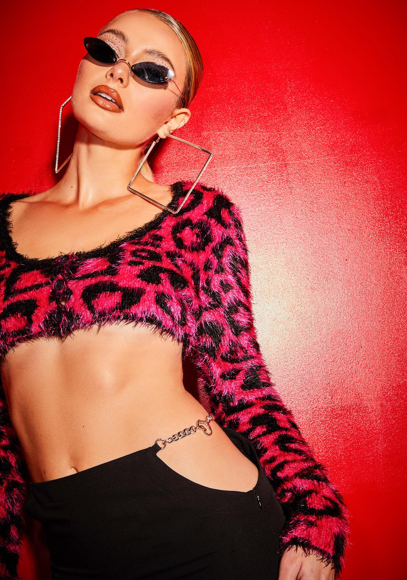 Poster Grl Picking Me Cheetah Heart Crop Cardigan