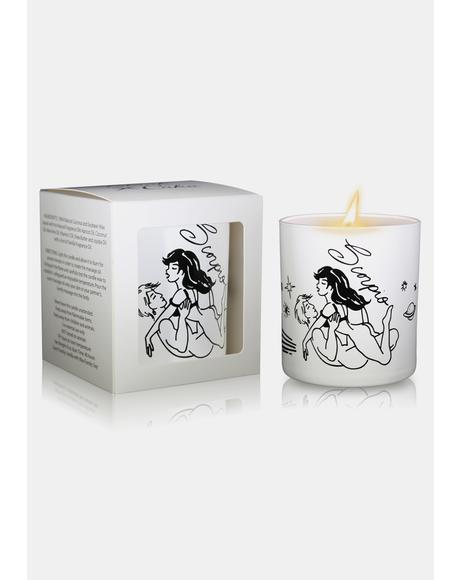 White Scorpio Zodiac Massage Candle