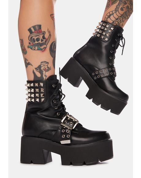 Stone Cold Fox Studded Platform Boots