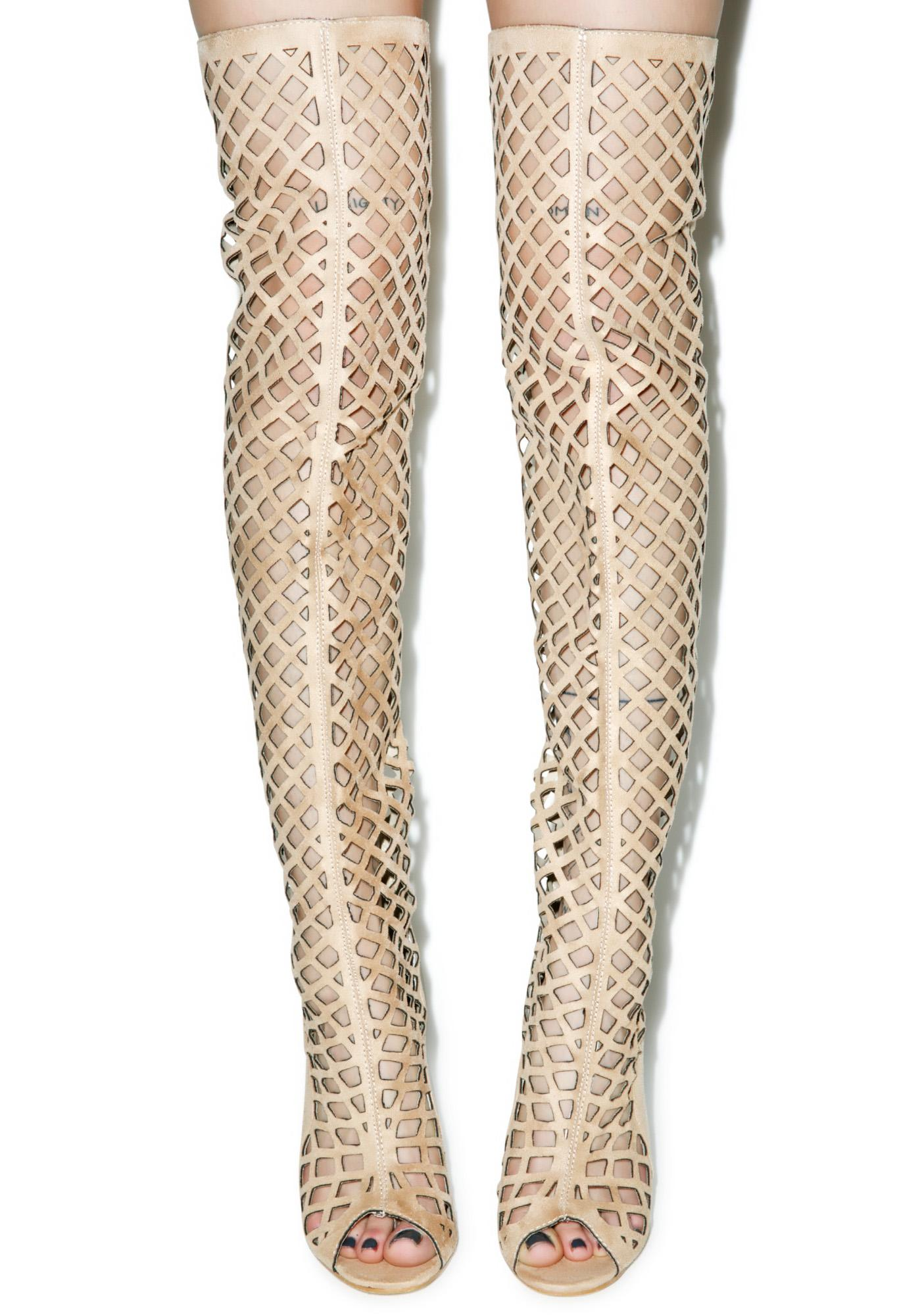 Honeycomb Thigh High Heels