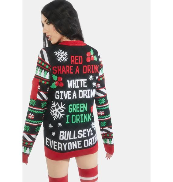 Tipsy Elves Drinking Game Holiday Sweater
