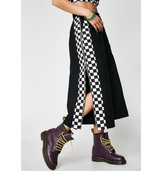 LOVE TOO TRUE Black Check Pistol Trousers