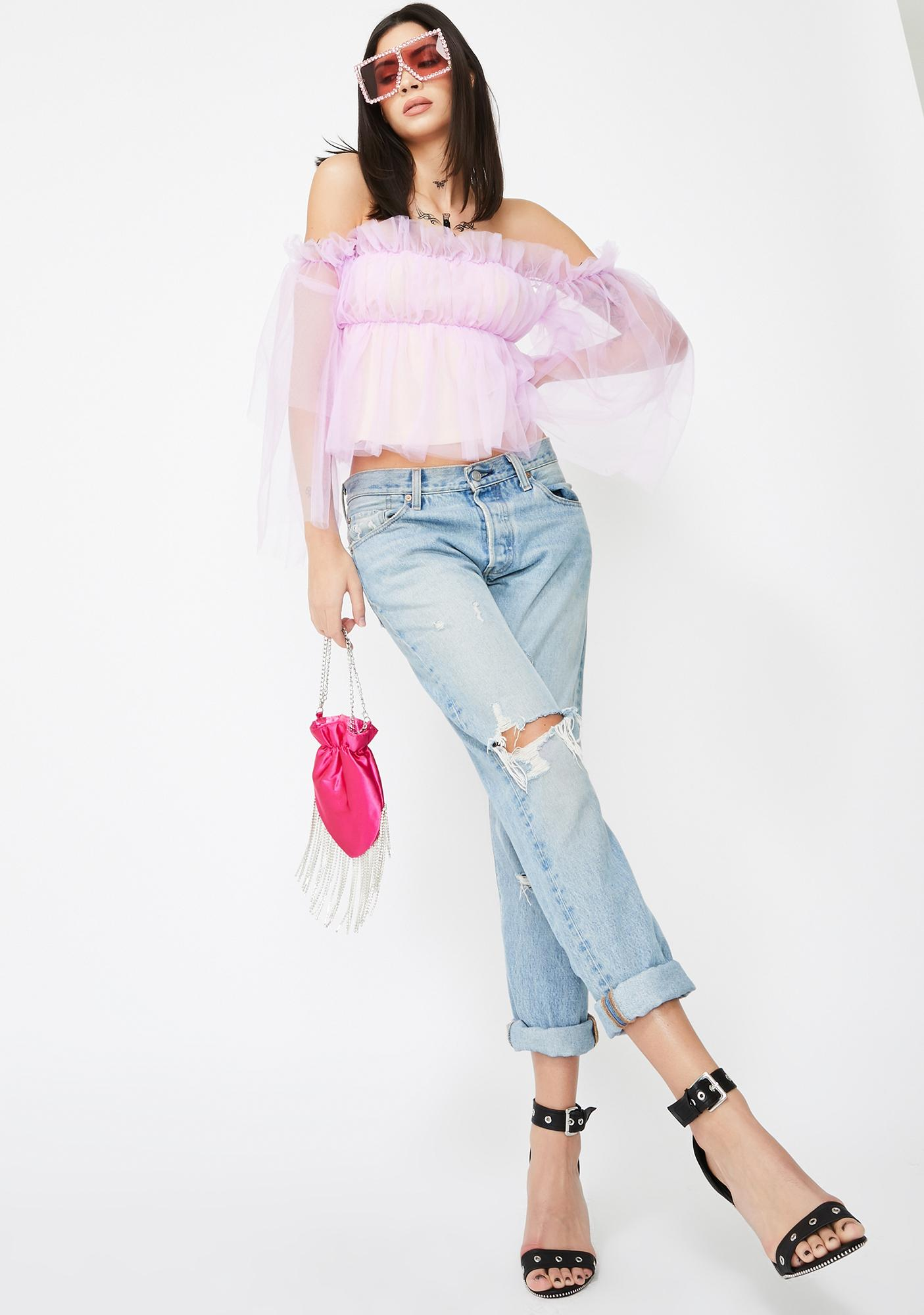 Jaded London Long Sleeve Lilac Ruffle Mesh Top