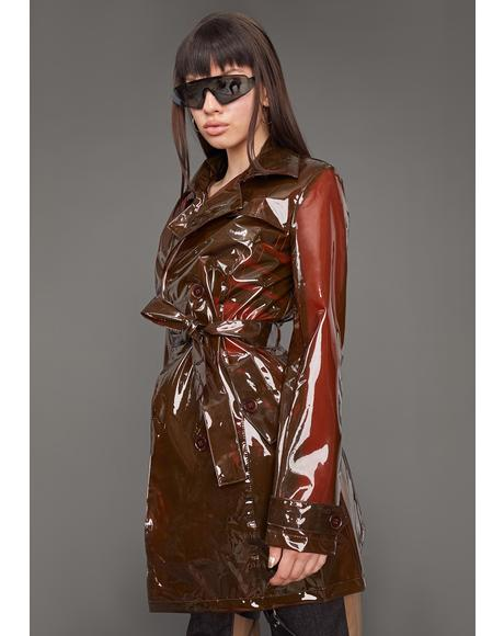 Slick At Night Translucent Trench Coat