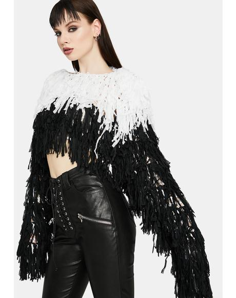 Tearing It Up Cropped Fringe Two Tone Sweater