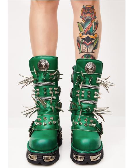 Emerald Spike Boots