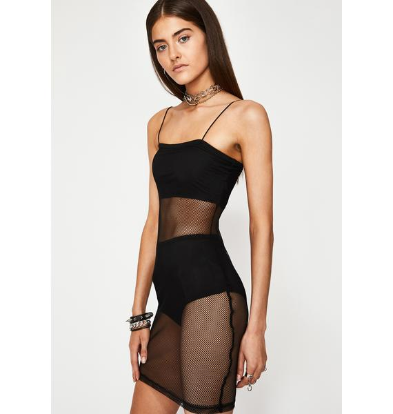 Midnight Hit My DM's Mesh Dress