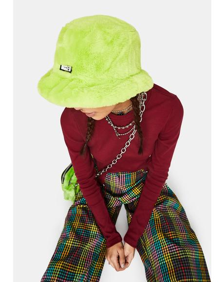 Lime Candid Faux Fur Bucket Hat