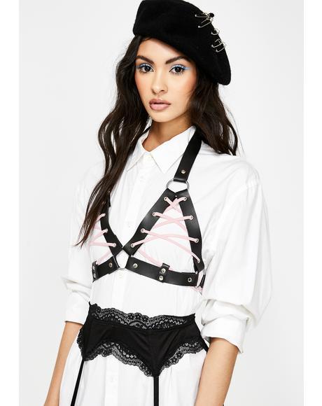 Harlot Pink Lace-Up Harness Bra