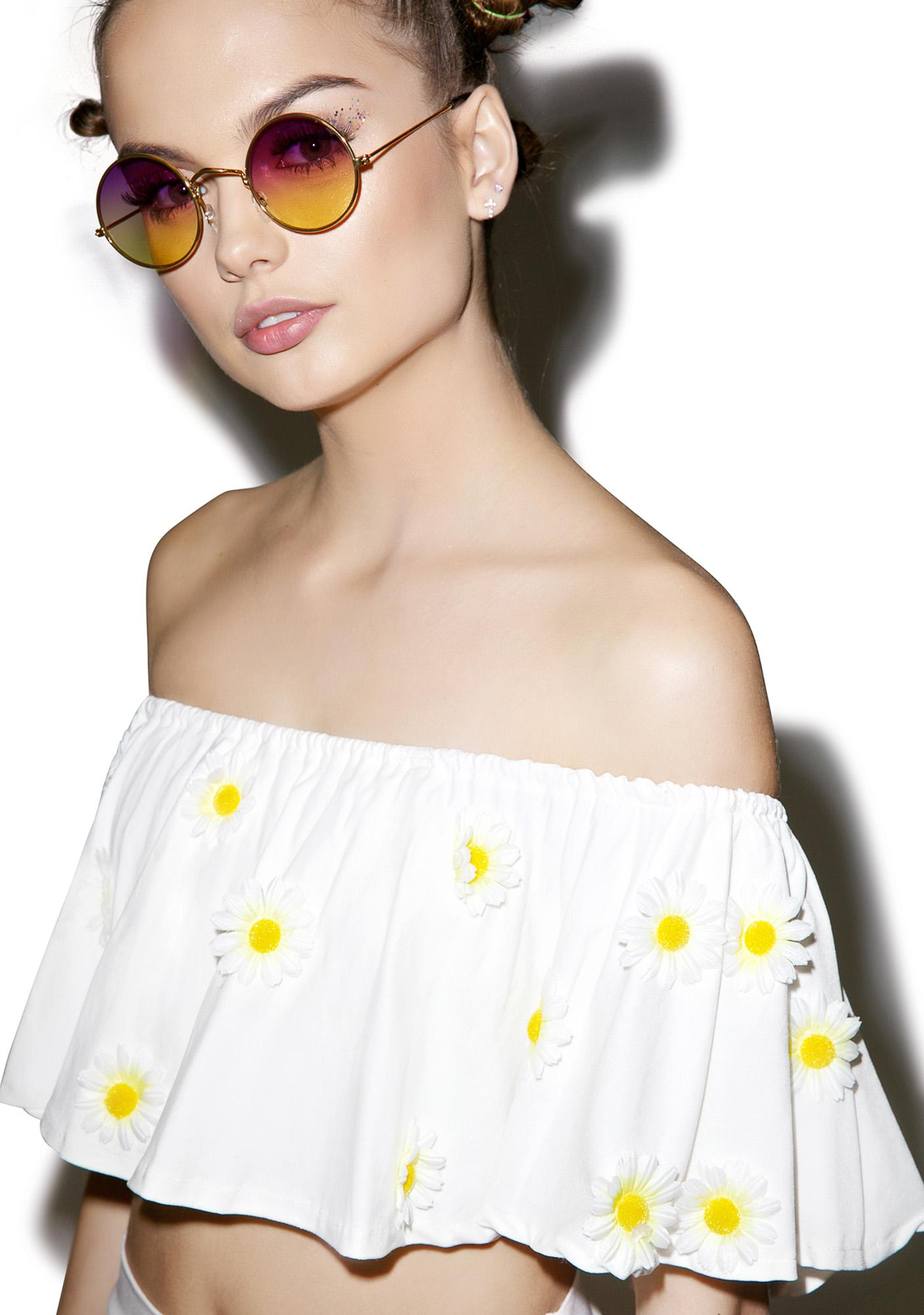O Mighty Daisy Off The Shoulder Crop Top