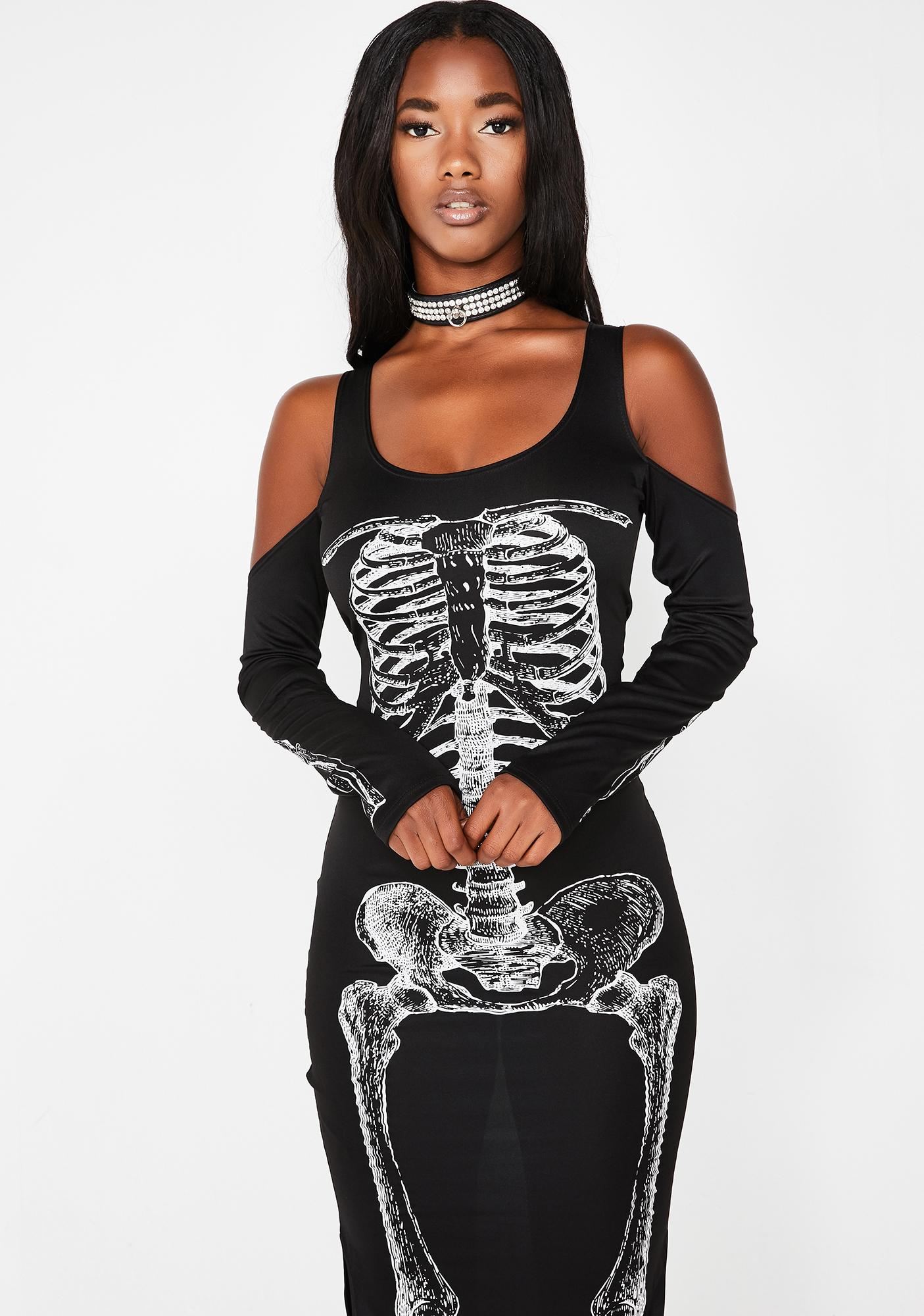 Jump Them Bones Cold Shoulder Dress