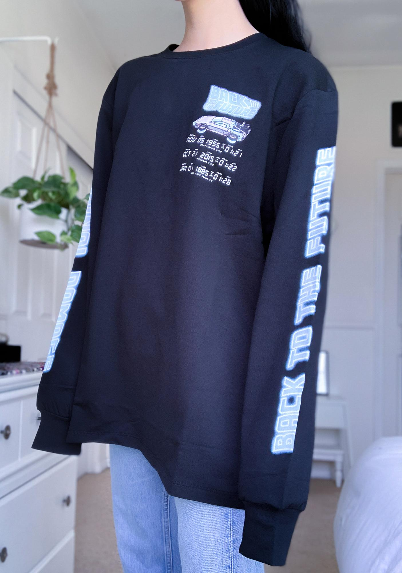 Criminal Damage X Back To The Future Black Time Code Long Sleeve Tee
