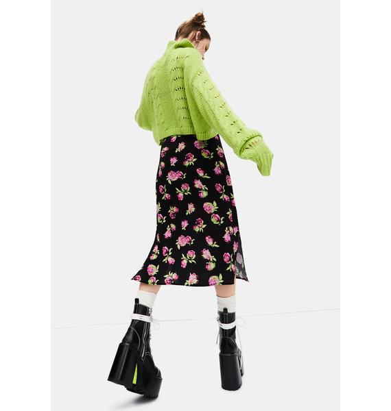 dELiA*s by Dolls Kill Lost In Yesterday Floral Midi Skirt