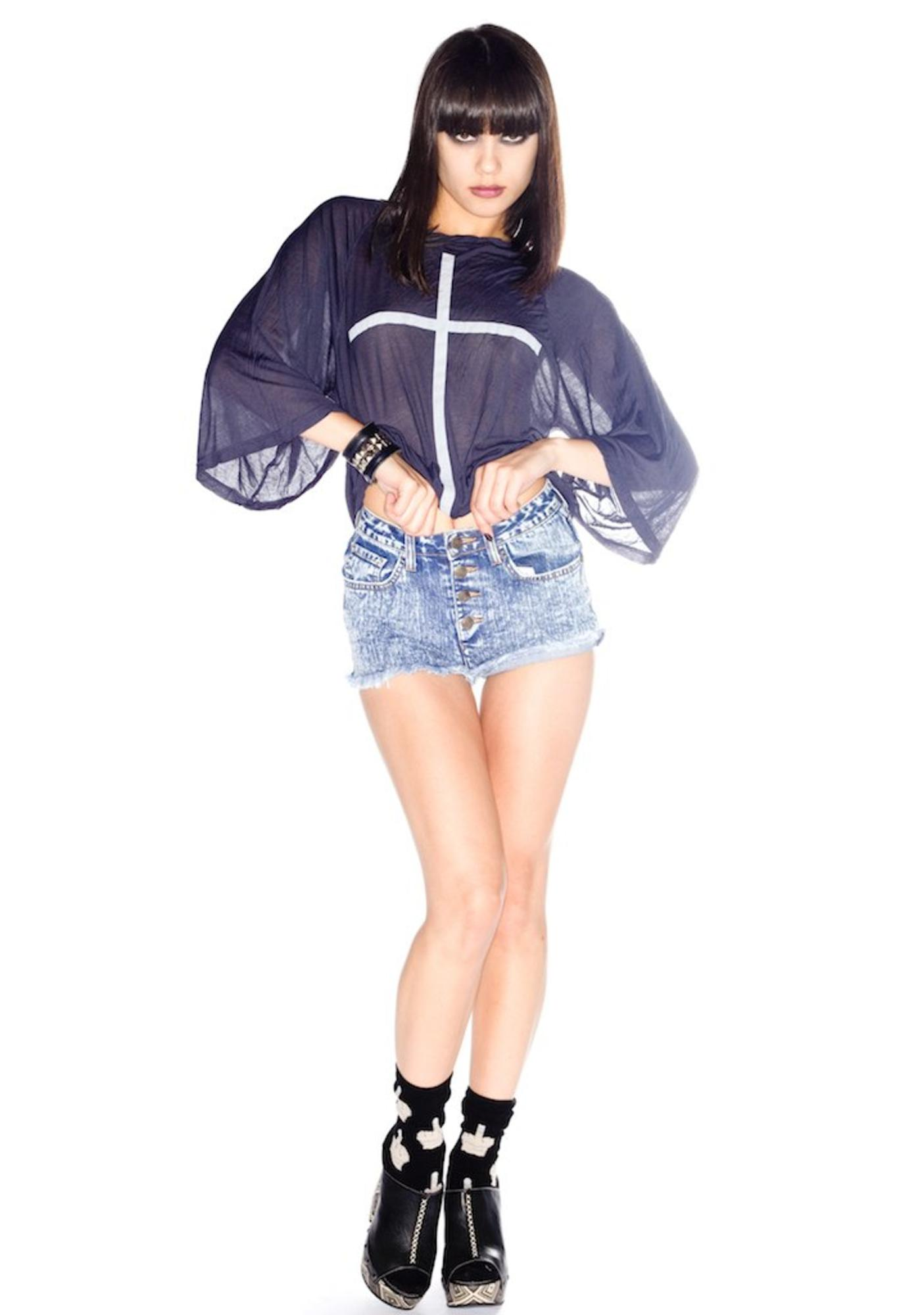 Wildfox Couture Heather High Waisted Denim Shorts