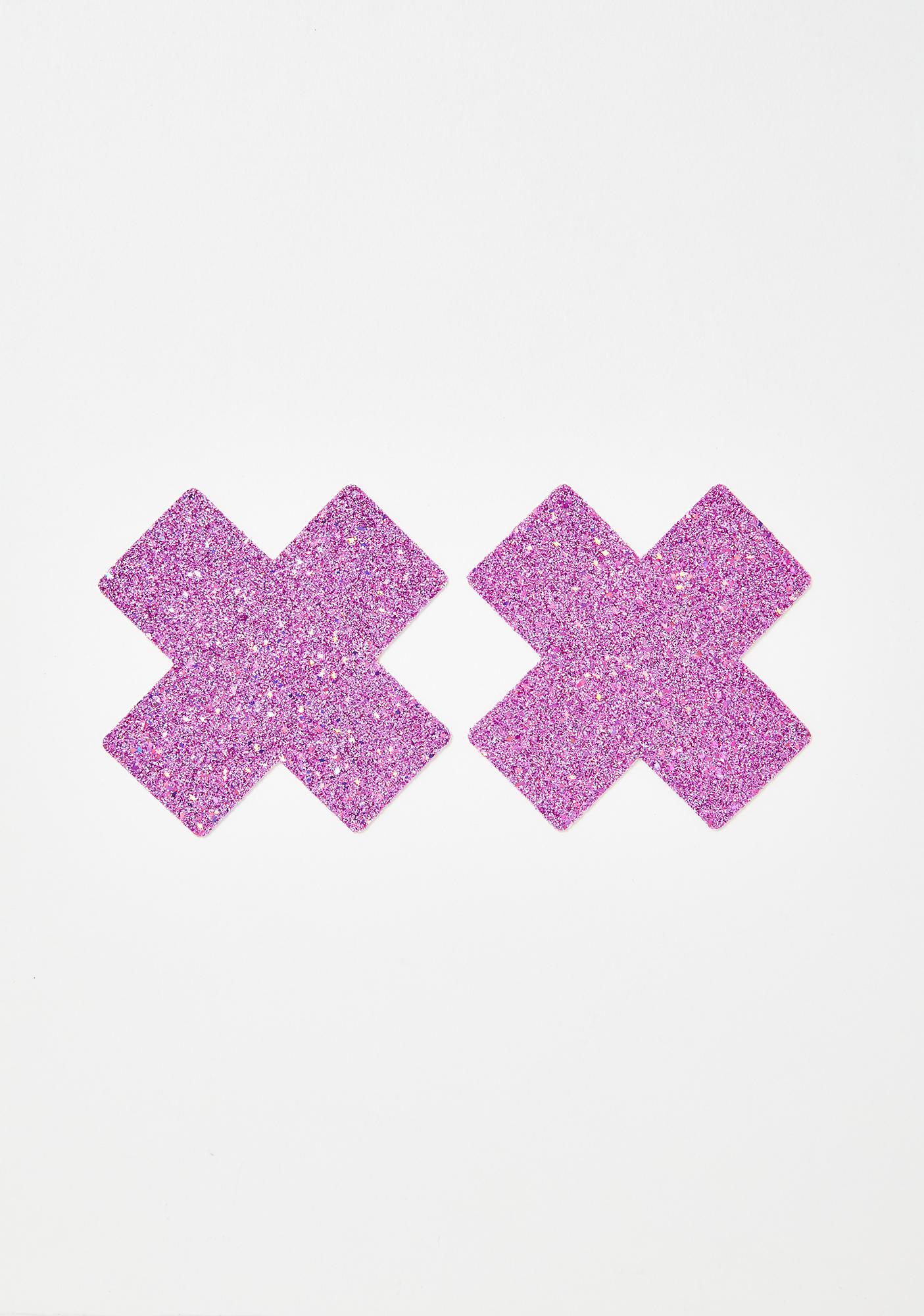 Neva Nude Pink Chunky Glitter Cross Pasties