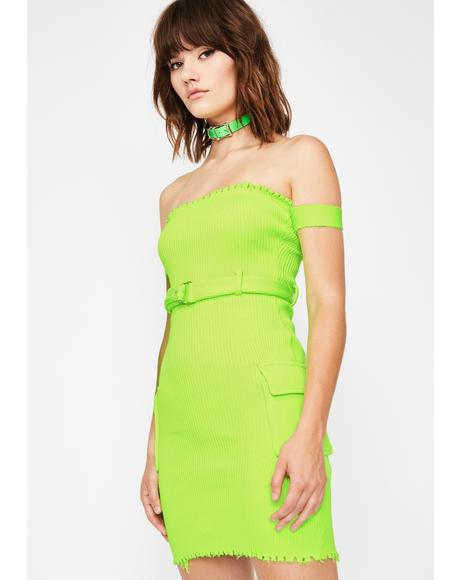 Slime All Torn Up Belted Dress