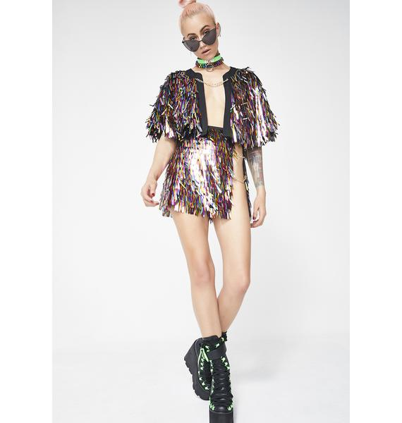Jaded London Rainbow Sequin Spike Cape