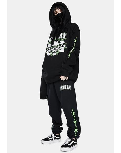 Black N Green Triple Rip Sweatpants