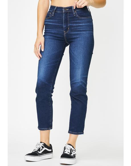 London Indigo 724 High Rise Straight Crop Jeans