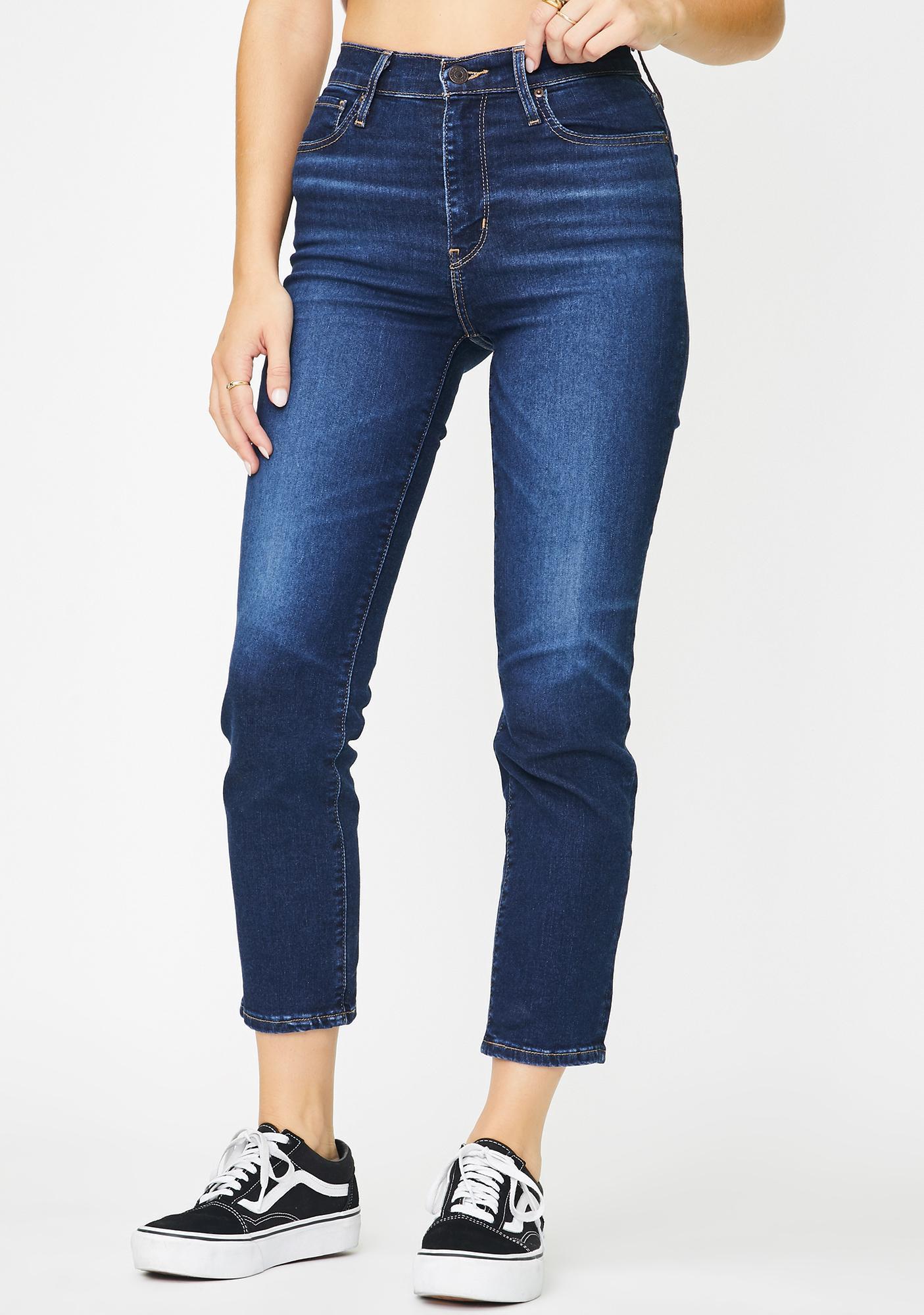 Levis London Indigo 724 High Rise Straight Crop Jeans