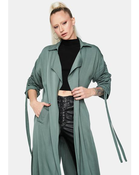 Sage Filled of Lust Ruched Waist Belt Coat