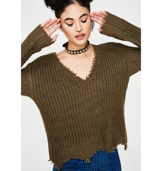 Olive Take The Bait Knit Sweater