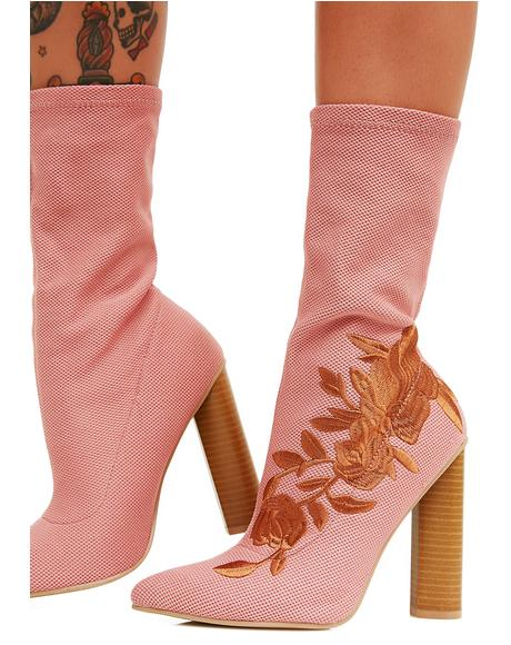 Blush Steal Your Heart Embroidered Boots