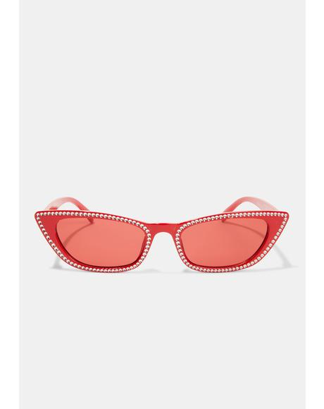 Cherry Freeze Frame Cat Eye Sunglasses