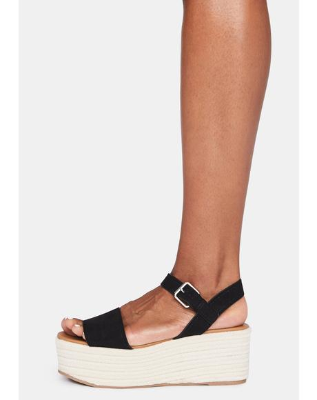 Suede Black Out With A Bang Platform Sandals