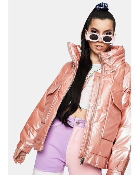 Pink Pearl Puffer Jacket