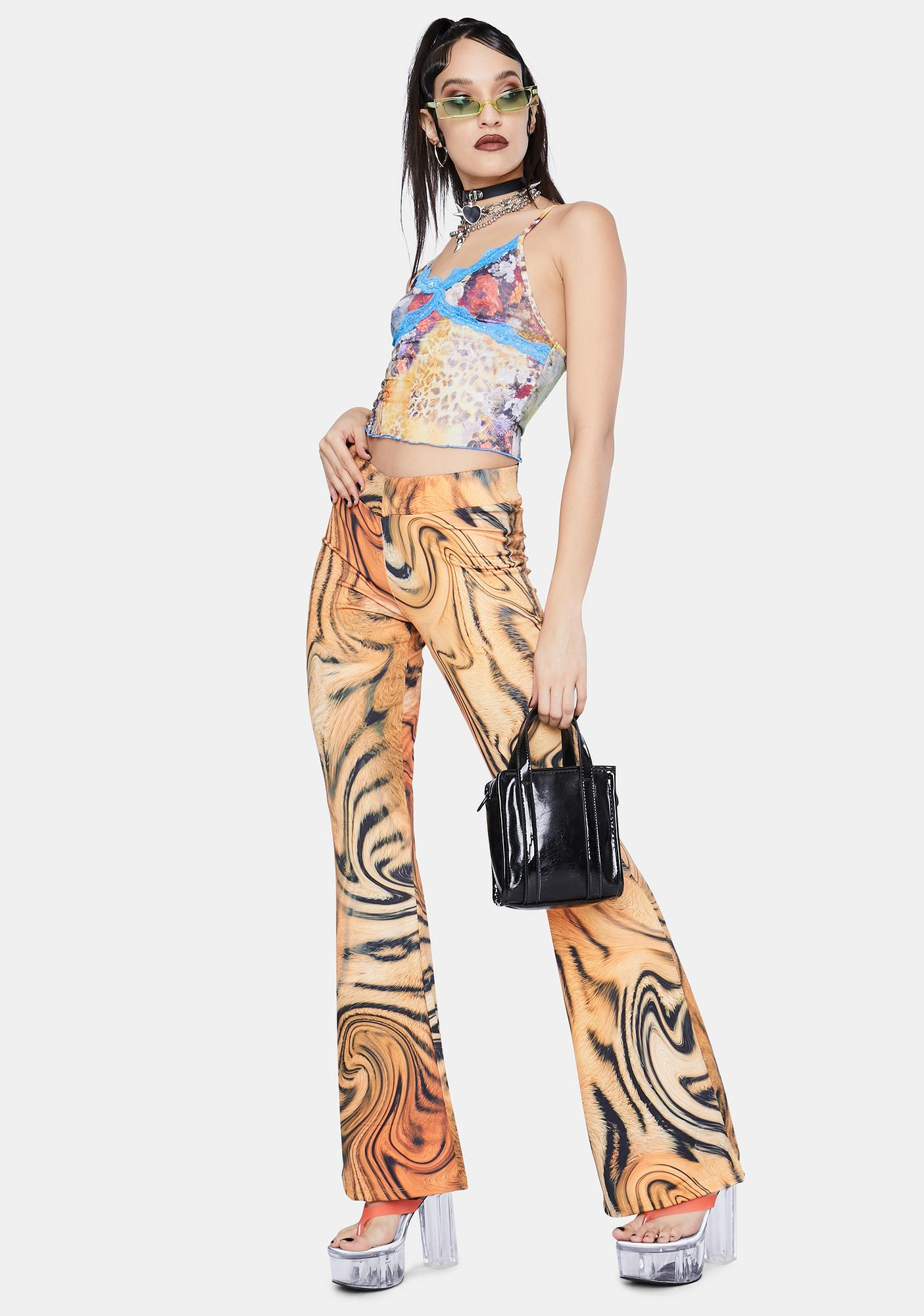 Jaded London Tiger Swirl Print Bootcut Trousers