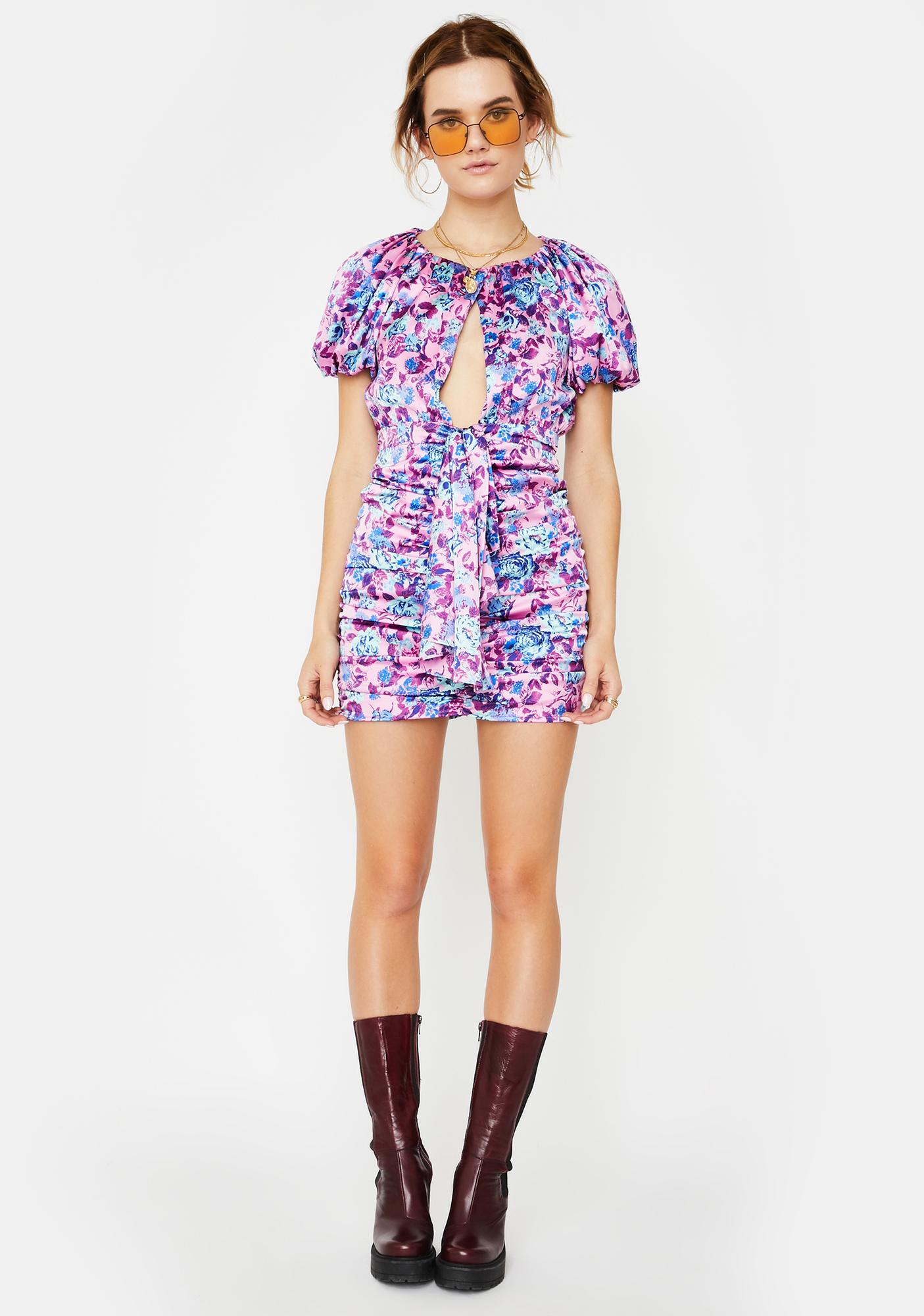 For Love & Lemons Tahiti Ruched Mini Dress