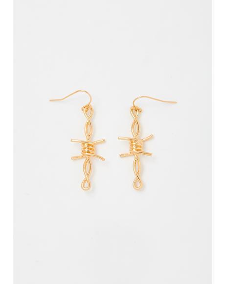 Gold Cross The Line Barbwire Earrings