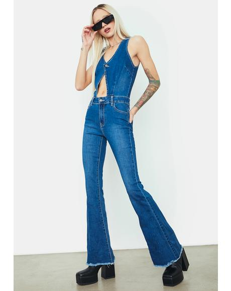Destination Anywhere Denim Flare Jumpsuit