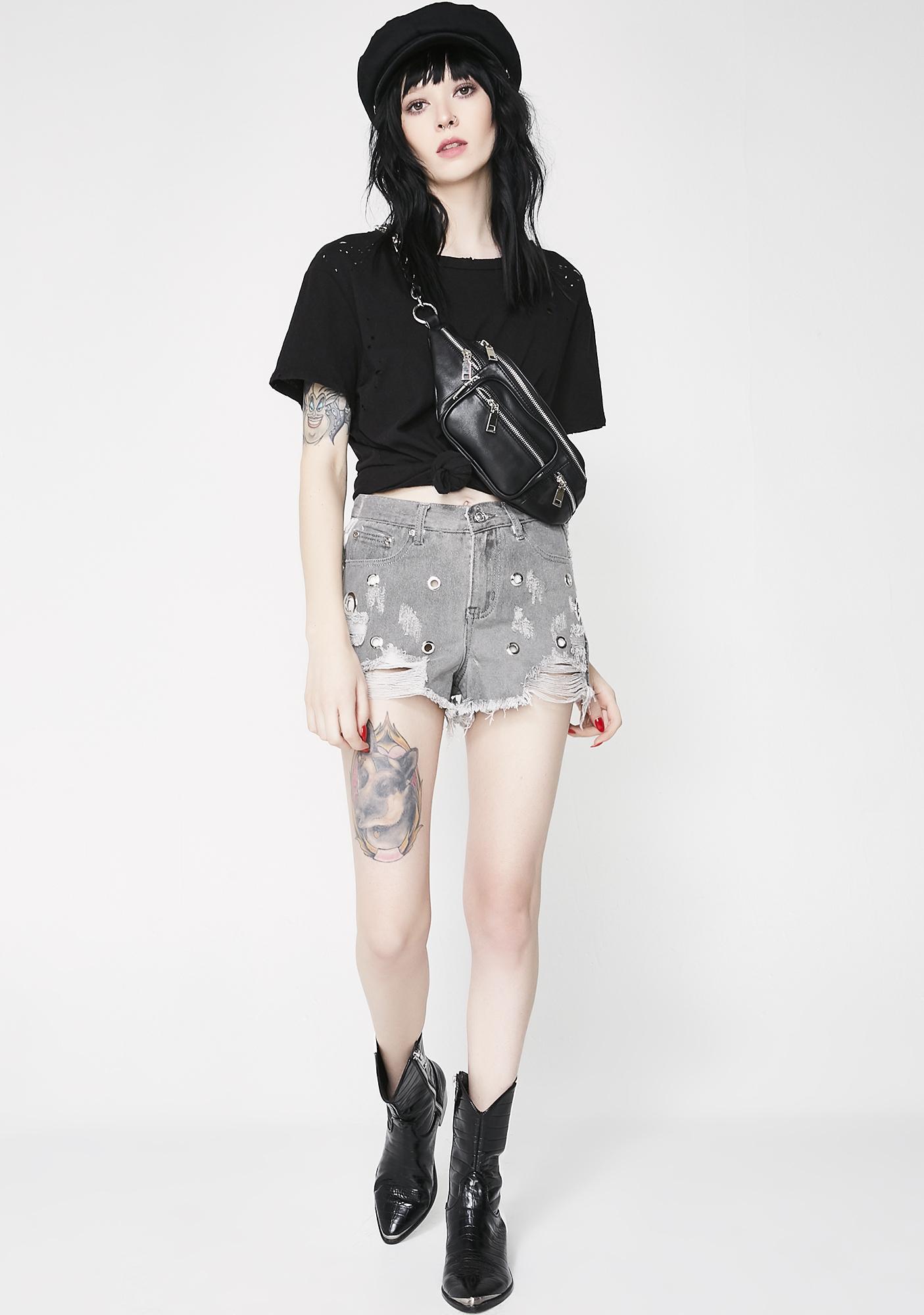 Smoke Circle Dot Denim Shorts