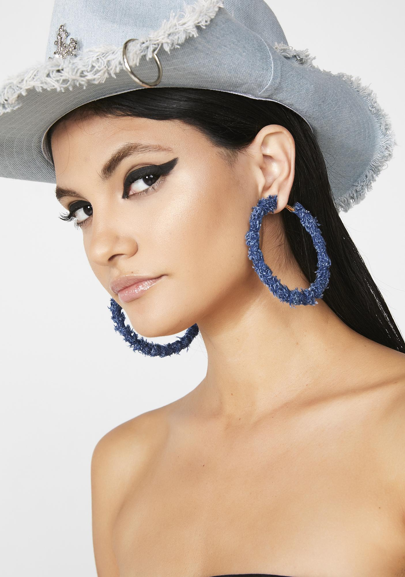 Trigger Happy Denim Earrings