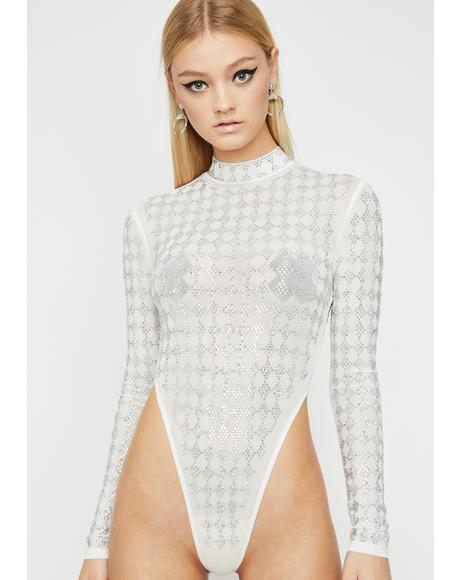 Icy Sparklin' Harlequin Embellished Bodysuit
