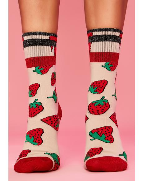 Strawberry Fields Crew Socks