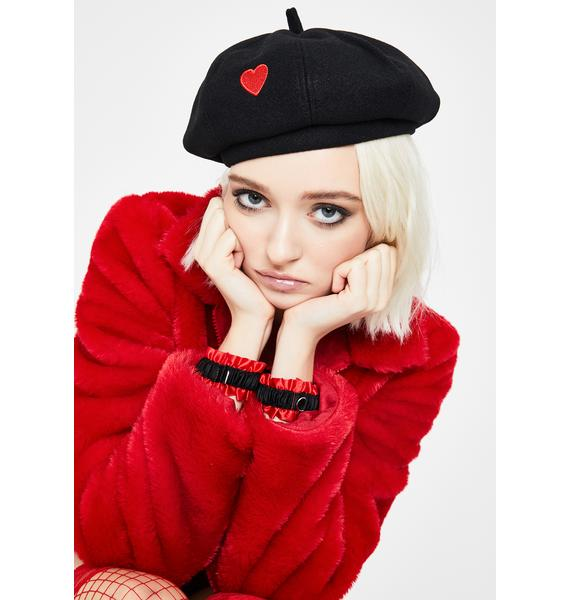 I Love You Embroidered Beret