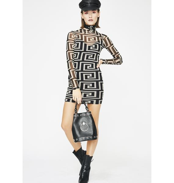 Very Fauxsace Mesh Dress